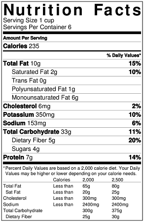 Mexican brown rice salad nutrition label