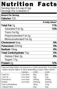 banana pudding nutrition label
